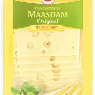 Fromage de hollande à pâte pressée en tranches maasdam original au lait pasteurisé 27%mg (U)