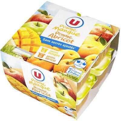 Purée pommes mangues et purée pommes abricots sans sucres ajoutés (U)
