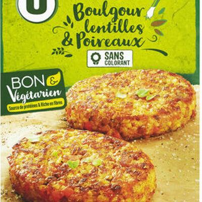 Galette boulgour lentilles poireaux (U bon & végétarien)
