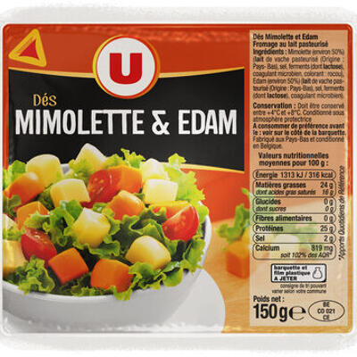 Dés de mimolette et edam au lait pasteurisé 24% de mg (U)