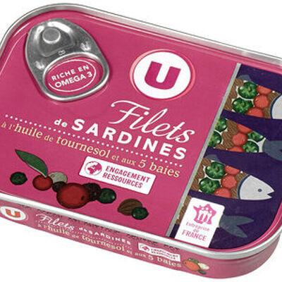 Filets de sardines à l'hle de tournesol & aux 5 baies (U)