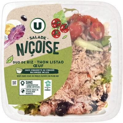 Salade niçoise duo de riz thon oeuf sauce vinaigre balsamique (U)