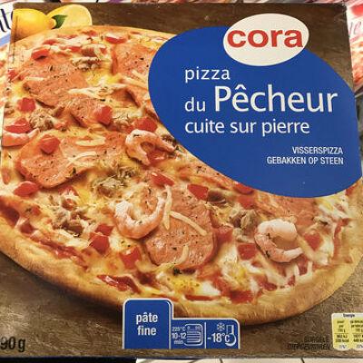 Pizza du pêcheur( saumon, thon, crevettes) cuite sur pierre (Cora)