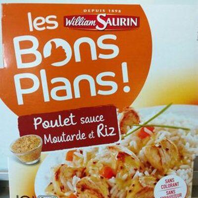 Les bons plans - poulet sauce moutarde et riz (William saurin)