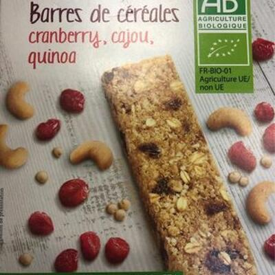Barres de cereales cranberry, cajou, quinoa (Franprix)