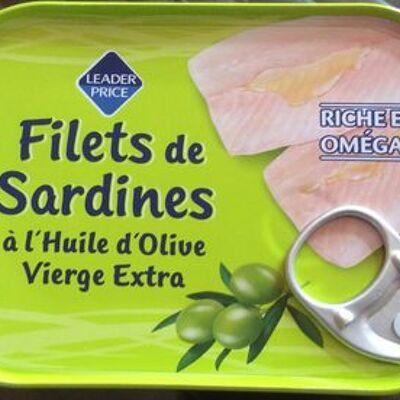Filets de sardines à l'huile d'olive vierge extra (Leader price)