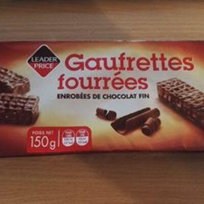 Gaufrettes fourrées enrobées de chocolat fin (Leader price)