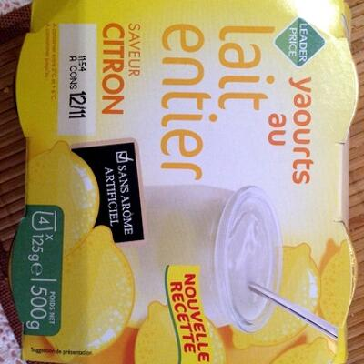 Yaourts au lait entier saveur citron (Leader price)