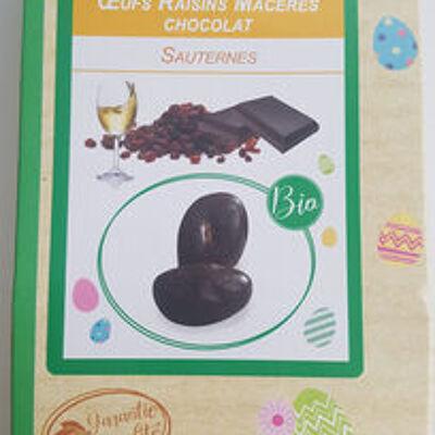 Raisin sec macéré au vin blanc doux sauternes et enrobé de chocolat noir aromatisé pêche (La fabrique d'eugénie)