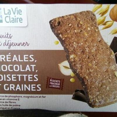 Biscuits petit déjeuner céréales, chocolat, noisettes et graines (La vie claire)