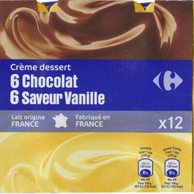 Crème dessert 6 chocolat 6 saveur vanille (Carrefour)