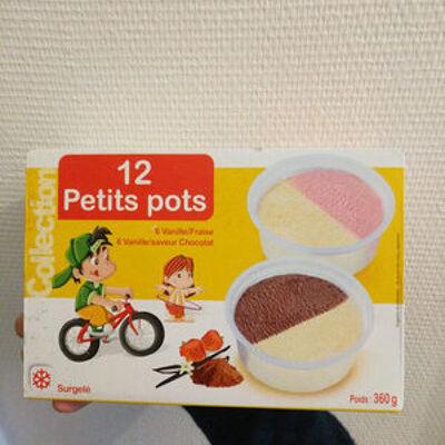 12 petits pots vanille/fraise et vanille/chocolat (Rolland)