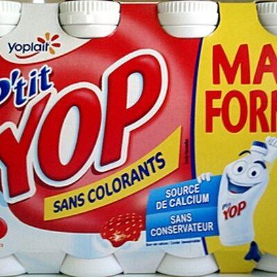 P'tit yop, parfum fraise (maxi format lot x 8) (Yoplait)