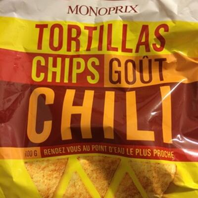 Tortillas chips goût chili (Monoprix)