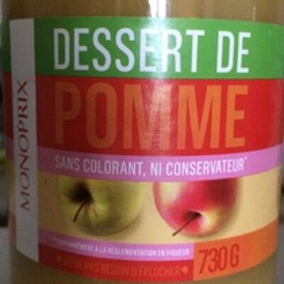 Dessert de pomme sans colorant ni conservateur (Monoprix)