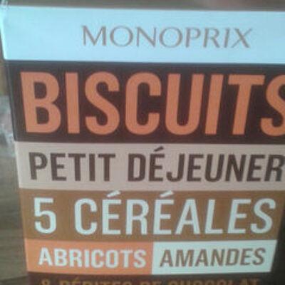 Biscuits petit déjeuner 5 céréales abricots, amandes & pépites de chocolat (Monoprix)