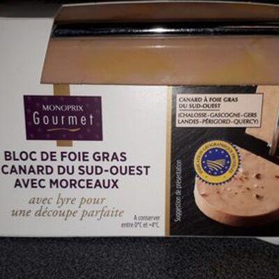 Bloc de foie gras de canard du sud-ouest avec morceaux (Monoprix gourmet)