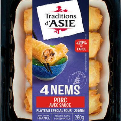 4 nems au porc avec sauce nuoc-mâm (Traditions d'asie)