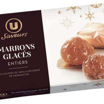 Marrons glacés entiers aux gousses de vanille bourbon de madagascar saveurs (U saveurs)
