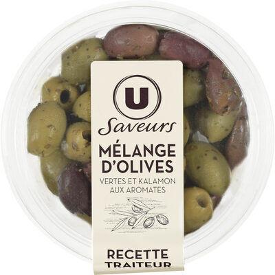 Mélanges d'olives vertes et kalamon aux arômates (U saveurs)