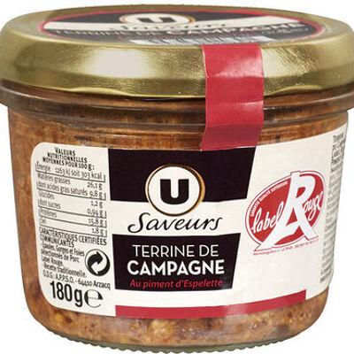 Terrine de campagne au piment d'espelette label rouge (U saveurs)