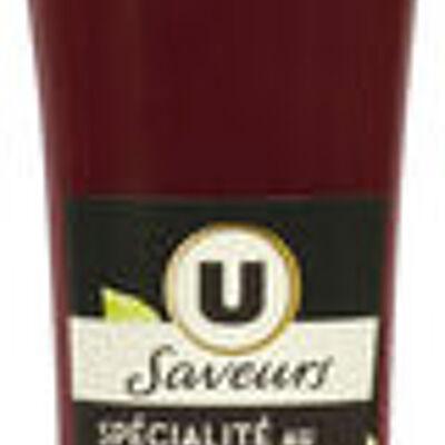 Préparation à base de vinaigre et de pulpe de framboise (U saveurs)