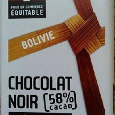 Chocolat noir dessert 58% cacao, bolivie (Artisans du monde)