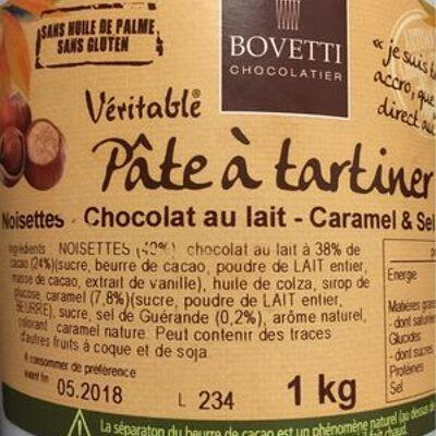 Pate à tartiner noisette chocolat au lait caramel et sel de guerande (Bovetti)