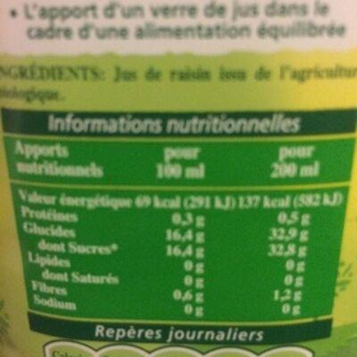 Récoltes bio jus de raisin bio (Tropicana)