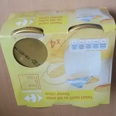 Yaourt sucré au lait entier saveur citron (Carrefour)