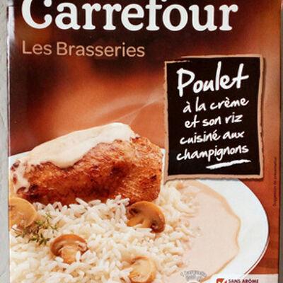 Les brasseries poulet à la crème et son riz cuisiné aux champignons (Carrefour)