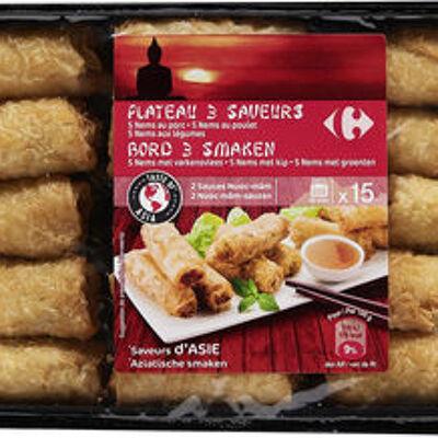 Plateau 3 saveurs 5 nems au porc - 5 nems au poulet - 5 nems aux légumes (Carrefour)