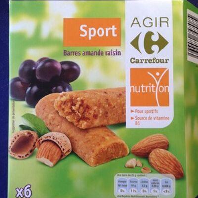 Barres amande raisin (Carrefour)