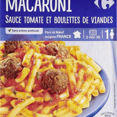 Macaroni sauce tomate et boulettes de viande (Carrefour)