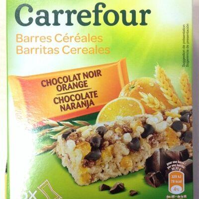 Barres céréales chocolat noir orange (Carrefour)
