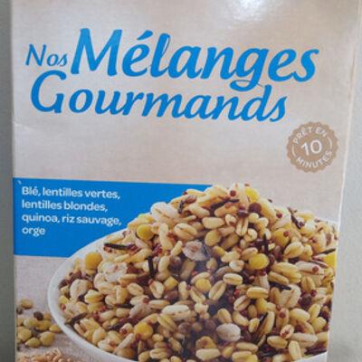Nos mélanges gourmands - blé lentilles vertes, lentilles blondes, quinoa, riz sauvage, orge (Carrefour)