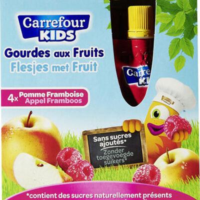 Pomme framboise compotes allégées en sucres * * 30% de sucres en moins par rapport à une compote classique. (Carrefour kids)
