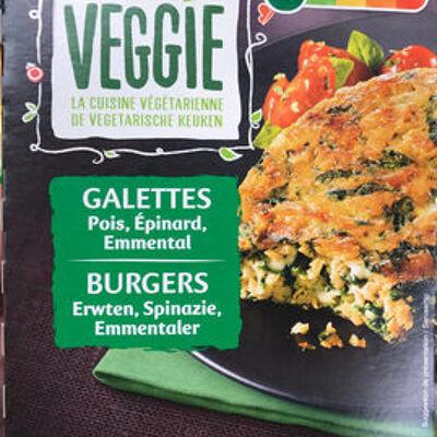 Galettes épinard, pois, emmental (Carrefour veggie)