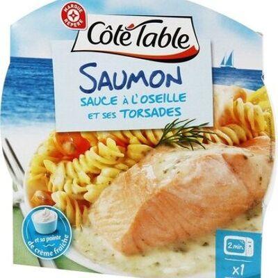Pavé de saumon sauce oseille et ses pâtes (Côté table)