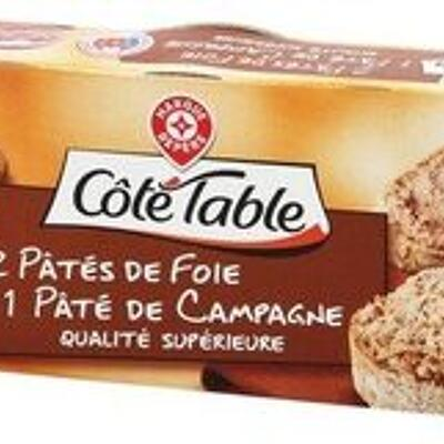 Assortiment de 3 terrines : 1 campagne, 2 foie (Côté table)