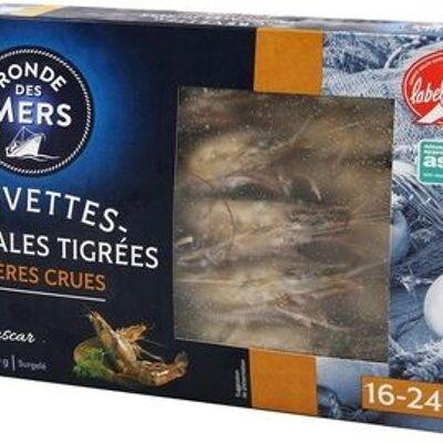 Crevettes géantes tigrées crues de madagascar 16/24 label rouge asc - boîte (Pêche océan)