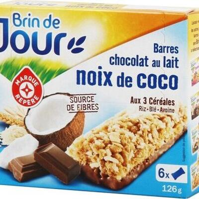 Barres céréales chocolat au lait noix de coco x 6 (Brin de jour)