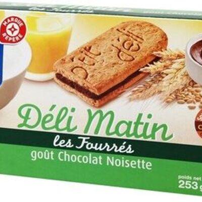 Biscuits fourrés petit déjeuner déli-matin goût chocolat noisette (P'tit déli)