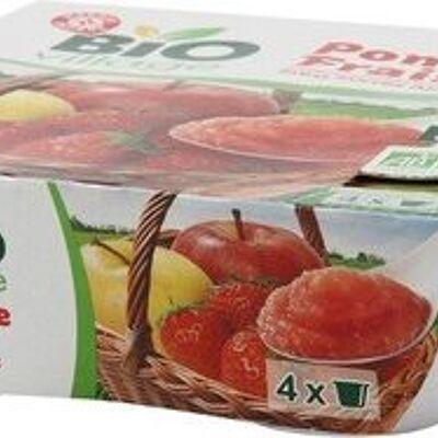 Purée de fruits pomme fraise sans sucres ajoutés bio 4 x 100 g (Bio village)