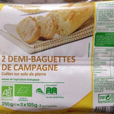 2 demi baguettes de campagne bio (Auchan bio)
