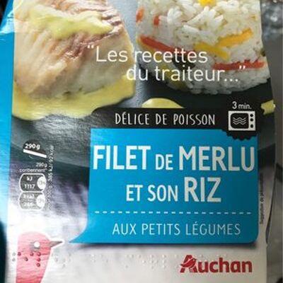 Filet de merlu et son riz aux petits légumes (Auchan)