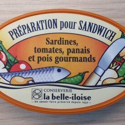 Préparation pour sandwich sardines, tomates, panais et pois gourmands (La belle-iloise)