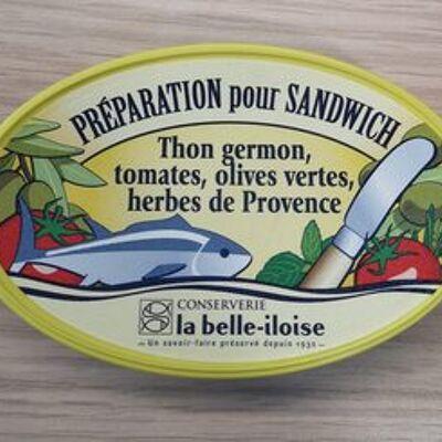 Préparation pour sandwich thon germon, tomates, olives vertes, herbes de provence (La belle-iloise)