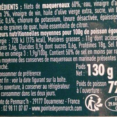 Filets de maquereaux citron basilic à teneur réduite en sodium (La pointe de penmarc'h)