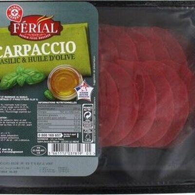 Carpaccio de boeuf et sa marinade huile d'olive / vinaigre balsamique 18 tranches (Férial)